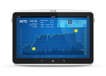 touch screen interface: Modern digital tablet computer with stock market application on a screen  Isolated on white