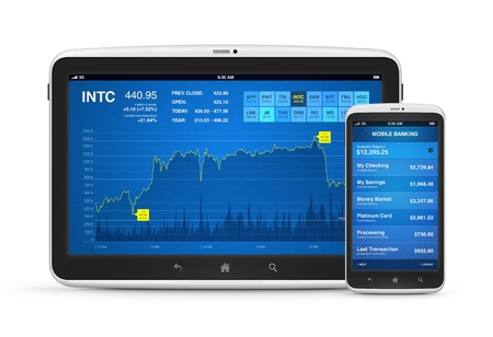 Stock market data and mobile banking interface on modern digital tablet with mobile smart phone  Isolated on white  Stock Photo - 15647162