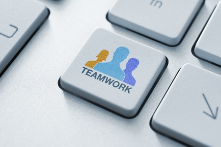 Teamwork key on keyboard concept  Toned image  Stock Photo