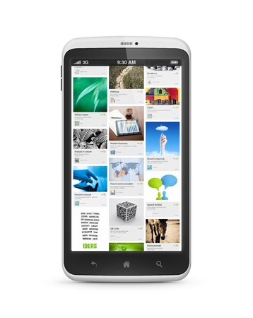 pinterest: Modern smartphone with social media applicationon a screen. Isolated on white. Stock Photo