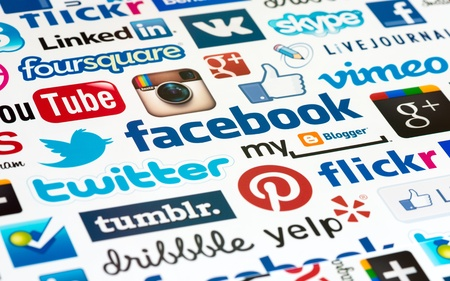 Kiev, Ukraine - October 19, 2012 - A logotype collection of well-known social media brand Stock Photo - 15876642