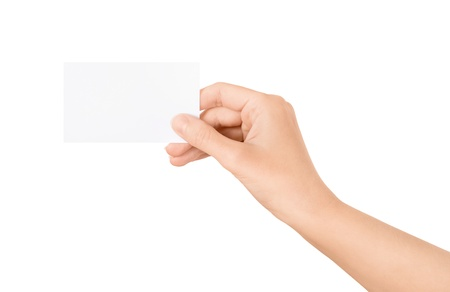 Woman holding blank business card in hand  Isolated on white  Stock Photo - 15892963