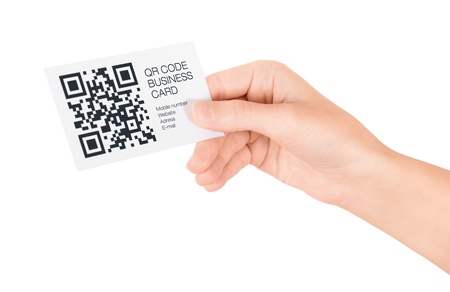 business: Hand showing business card with QR code information  Isolated on white