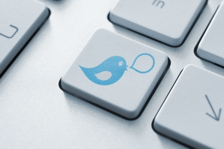 tweet icon: Blue bird with speech bubble on keyboard button  Social media concept  Stock Photo