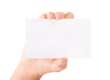 visit card: Woman holding and showing blank business card  Isolated on white  Stock Photo