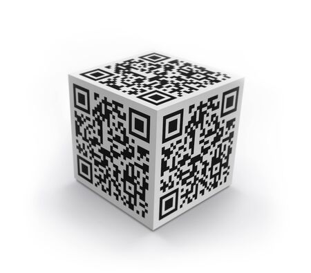 3D cube with QR code concept image  Isolated on white  photo