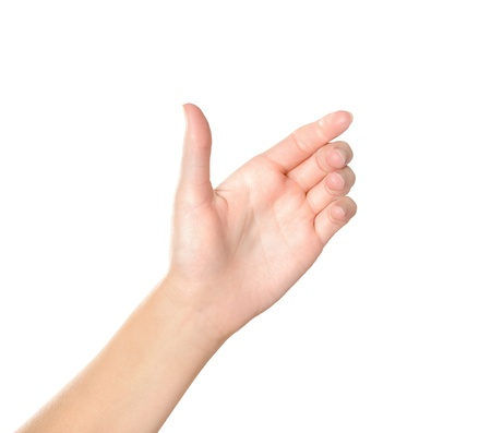 atrapar: Mano femenina que sostiene gesto virtuales tel�fono m�vil aislado en blanco
