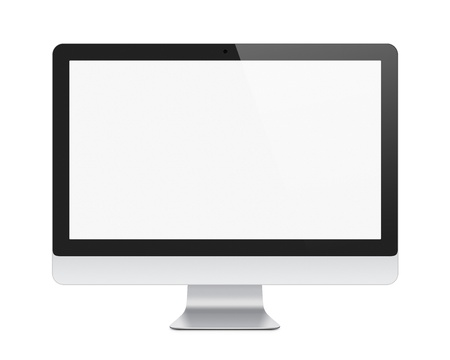 Illustration of modern computer monitor with blank screen  Isolated on white  Clipping path added for screen