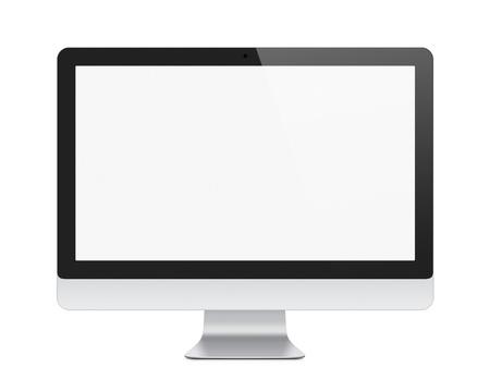 monitor de computador: Ilustra��o do monitor do computador moderno, com tela em branco isolado no trajeto de grampeamento branco adicionado para a tela