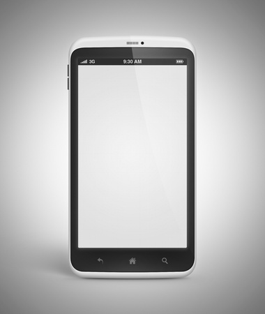 Modern mobile smartphone with blank screen isolated on gray background  Include clipping path for phone and screen  photo