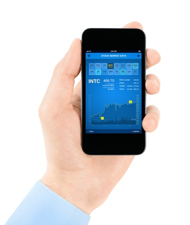 nyse: Hand holding mobile smartphone with stock market data application interface  Isolated on white