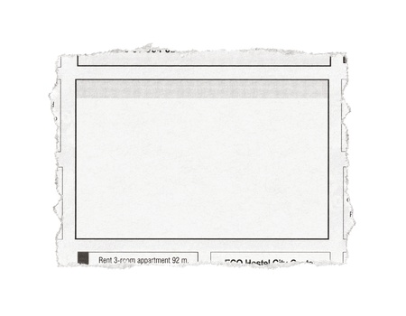 out of job: Piece of paper with advertisement space torn out from newspaper  Isolated on white  Stock Photo