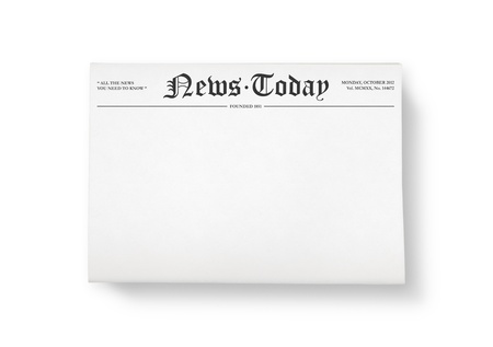 the latest: A stack of newspapers with headline  News Today  and blank space for information  Top view shot  Isolated on white