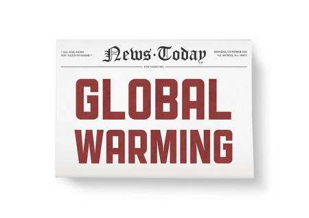 A newspapers with headline  Global Warning   Top view shot  Isolated on white  Stock Photo - 16790295