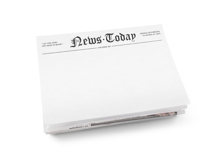 A stack of newspapers with headline  News Today  and blank space for information  Isolated on white  photo