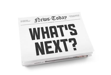vision futuro: Una pila de periódicos con titulares Qué