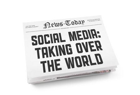 newspaper headline: A stack of newspapers with headline  Stock Photo