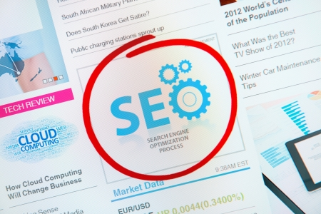 optimizing: Success internet banner advertisement with text SEO and red circle selection around.