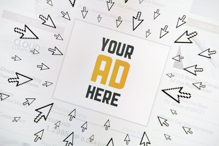 Success internet banner with text 'YOUR AD HERE' and lot of clicking pointers around. Conceptual image. photo