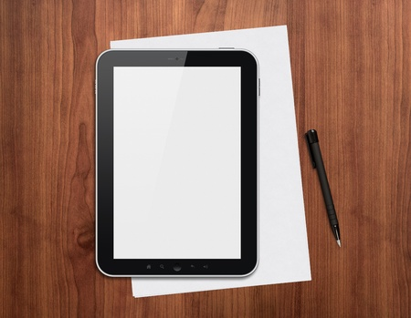 pad: Modern blank digital tablet, papers and pen on a wooden desk. Top view. High quality detailed graphic collage. Stock Photo