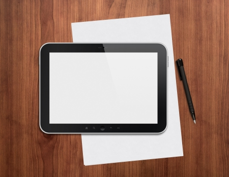 computer office: Modern blank digital tablet with papers and pen on a wooden desk. Top view. High quality detailed graphic collage.