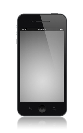 mobilephone: Modern smartphone with blank screen. Isolated on white.