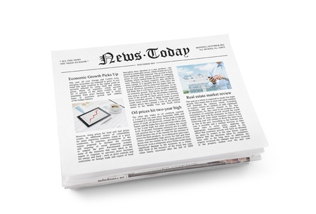 latest: A stack of newspapers with headline  News Today  and some article with information  Isolated on white