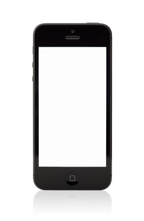 Kiev, Ukraine - January 9, 2013: The new black Apple iPhone 5, sixth generation version of the iPhone is slimmer and lighter model with new high-resolution, 4-inch screen display. Stock Photo - 17393340