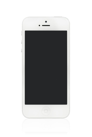 high quality: Kiev, Ukraine - January 9, 2013: The new white Apple iPhone 5, sixth generation version of the iPhone is slimmer and lighter model with new high-resolution, 4-inch screen display.