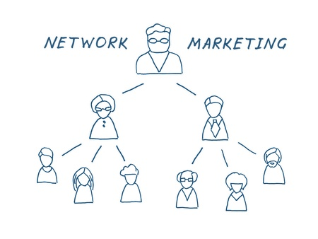 schemes: Network multilevel marketing illustration  Isolated on white