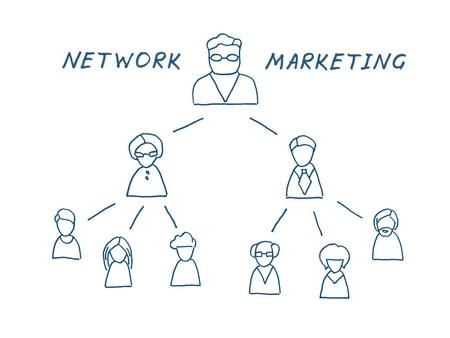 multilevel: Rete multilevel illustrazione marketing isolato su bianco