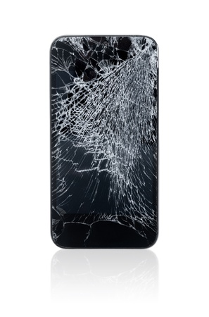 Mobile phone with broken screen isolated on white