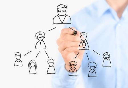 jerarquia: Dibujo de negocios multinivel esquema de comercialización aislado en blanco Foto de archivo
