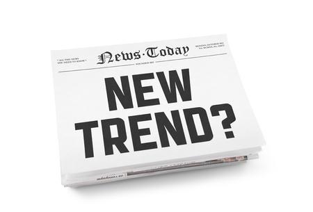 reforming: Una pila de peri�dicos con titulares Nueva Tendencia y el espacio en blanco para la informaci�n aislada en blanco