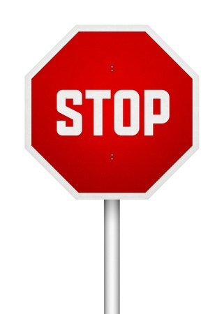 Stop sign illustration  Isolated on white  illustration