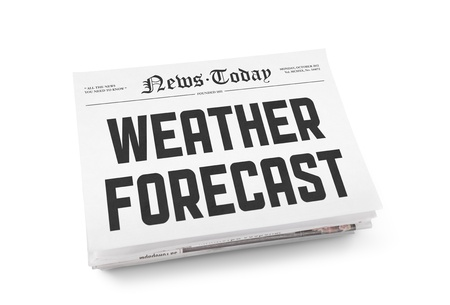 atmospheric pressure: A stack of newspapers with headline  Weather Forecast  on a front page  Isolated on white