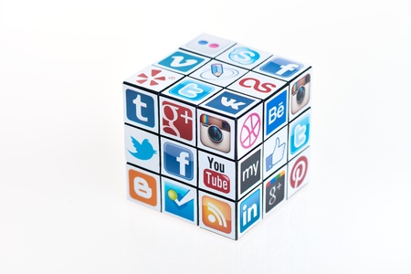 Kiev, Ukraine - February 2, 2013: A rubik cube with logotypes of well-known social media brand