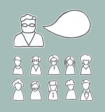 lijntekening: Een verzameling van simplistische lijntekening mensen pictogrammen en een tekstballon met ruimte voor uw tekst volwassenen mannen en vrouwen van verschillende looks