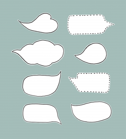 A collection of illustrated speech bubbles in a retro style White on teal background with some edged with stitching detail