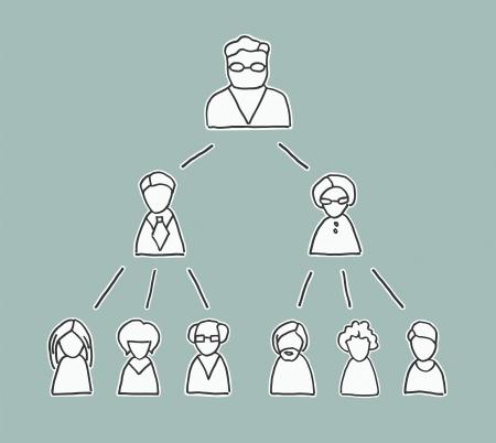 multilevel: Retro grafico stile di gestione con semplici linee disegnate le icone di persone, che mostra la catena di comando del Fondatore verso il basso Vettoriali