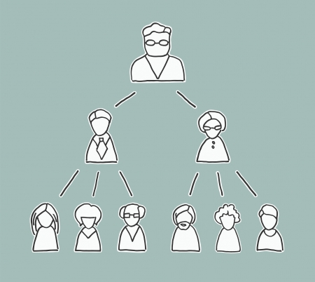 Delegation: Retro style management chart with simple line drawn people icons, showing the chain of command from the boss downwards Illustration