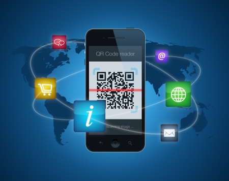 qrcode: A smartphone showing a QR code reader. Information concept with icons for shopping, information, email, websites and the ease with which information can be shared between them by the use of a QR code. Stock Photo
