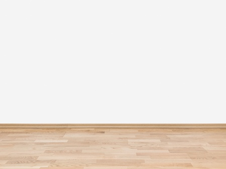 laminated: Copyspace background with an empty white wall with a hardwood wooden floor below with large copy space for your text or advertisement Stock Photo