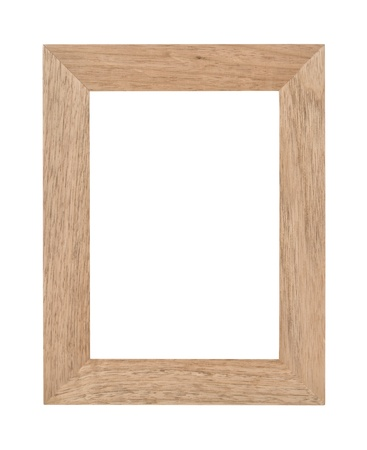 Empty rectangular wooden photo frame with woodgrain texture and blank white copyspace  Isolated on white  photo