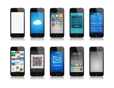 Collection of mobile phone interface designs showing different functions and apps  Isolated on white