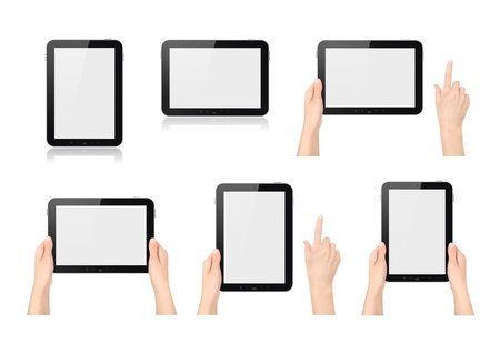 High quality set of digital tablets in different positions, both vertical and horizontal held by no, one or two hands with or without one hand pointing on white photo