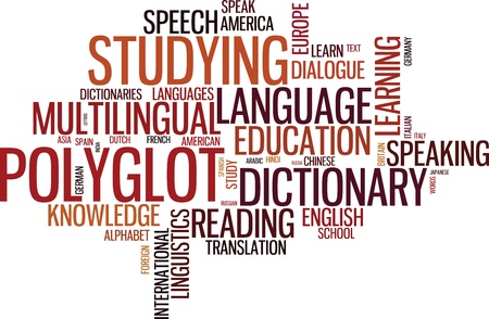 transcribe: Vector polyglot typographical wordcloud with mutiple words pertaining to language, study, dialogue and translation, in different sized fonts and different orientations