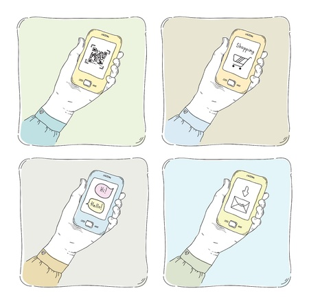 e new: Drawn  illustrations of using smartphone in typical situation, QR code scanning, internet shopping, sending messages and mail communication  Isolated on white  Illustration