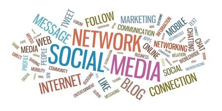 sociología: Los medios sociales palabra ilustraci�n nube aislada en el fondo blanco Vectores