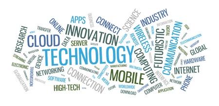 telecomm: palabra tipogr�fico ilustraci�n nube con varias palabras en el tema de la tecnolog�a en los diferentes tipos de letra de tama�o y orientaciones diferentes Vectores